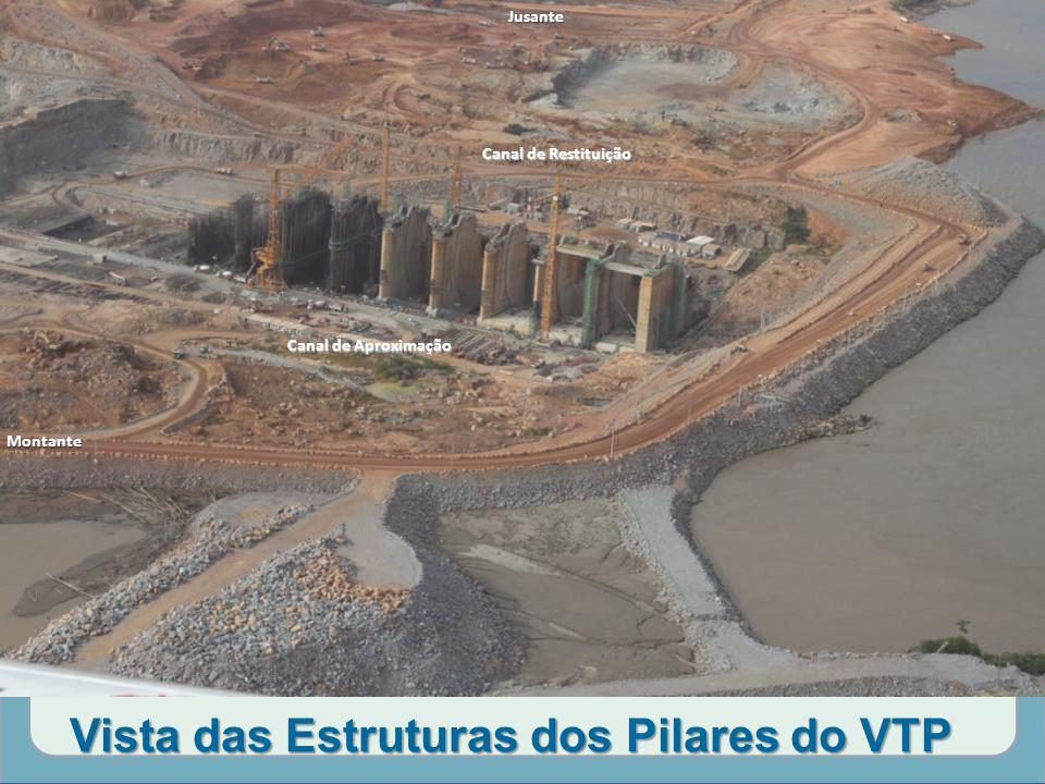 Vista das Estruturas dos Pilares do VTP Canal de Aproximação Canal de Restituição MontanteJusante