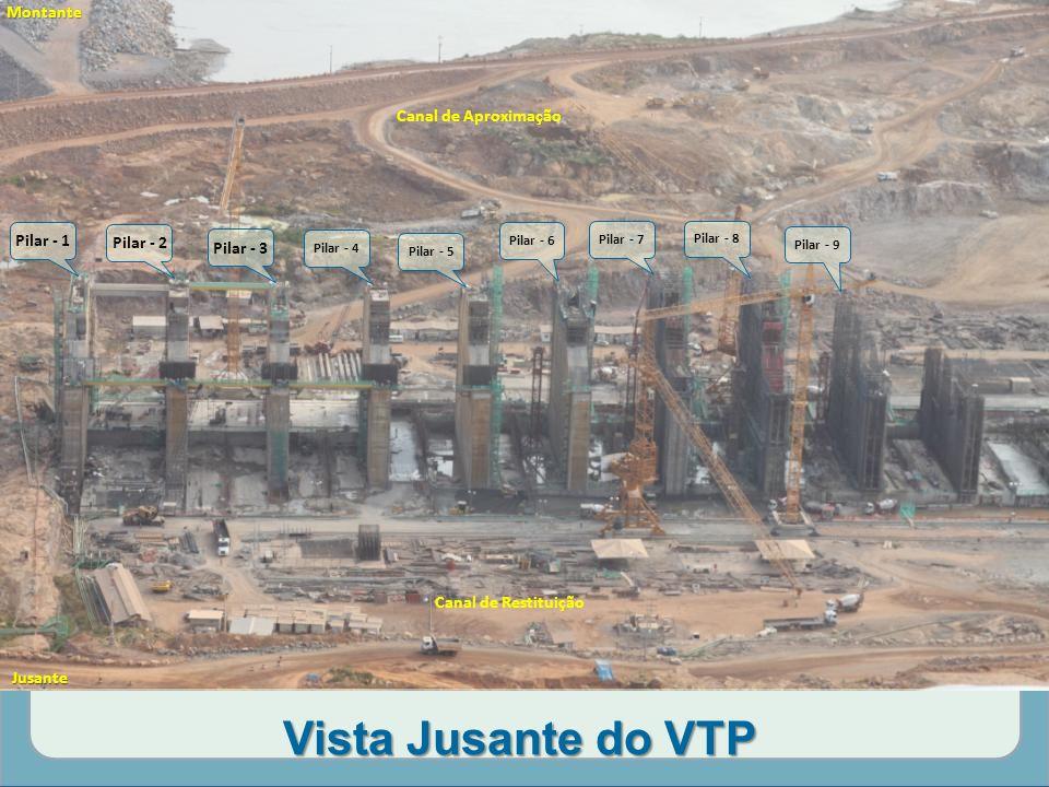 Vista Jusante do VTP Canal de Aproximação Pilar - 1 Pilar - 2 Pilar - 3 Pilar - 4 Pilar - 5 Pilar - 6 Pilar - 7 Pilar - 8 Pilar - 9 Canal de Restituição Montante Jusante