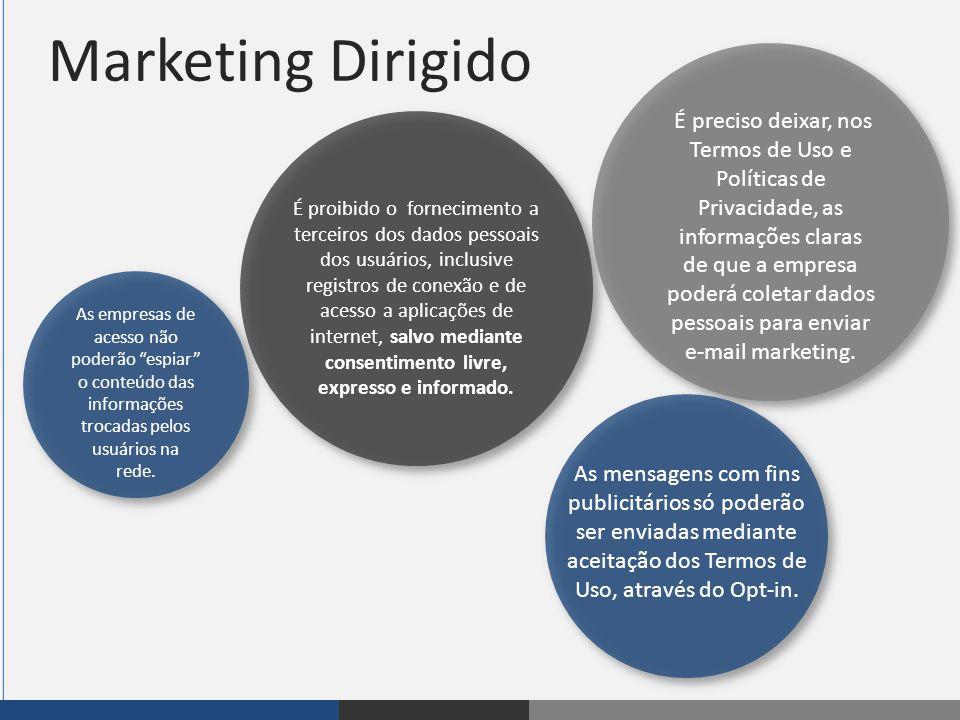 """Marketing Dirigido FIP As empresas de acesso não poderão """"espiar"""" o conteúdo das informações trocadas pelos usuários na rede. É proibido o forneciment"""