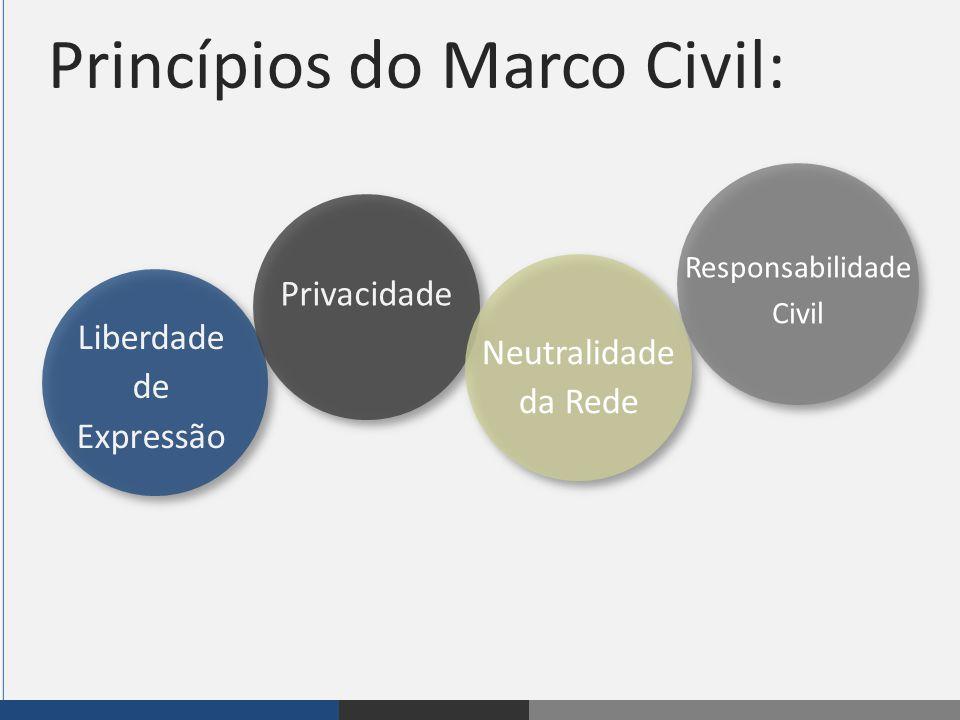 Princípios do Marco Civil: FIP Liberdade de Expressão Privacidade Neutralidade da Rede Responsabilidade Civil