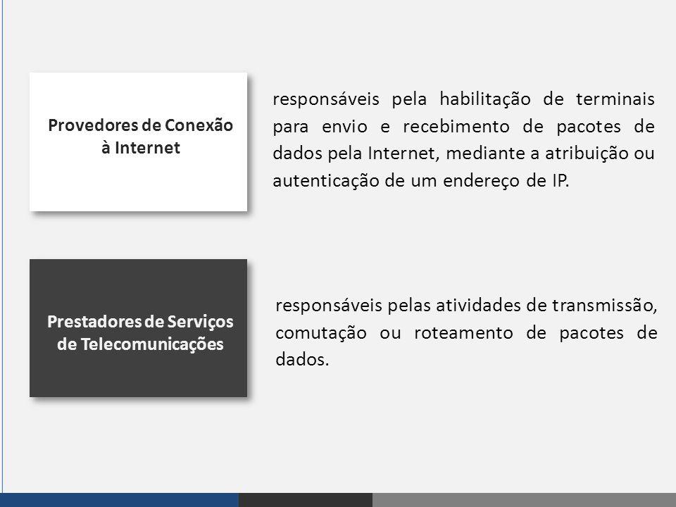 Provedores de Conexão à Internet Prestadores de Serviços de Telecomunicações responsáveis pela habilitação de terminais para envio e recebimento de pa