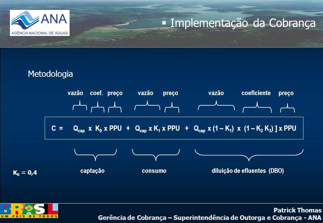 Patrick Thomas Gerência de Cobrança – Superintendência de Outorga e Cobrança - ANA  Implementação da Cobrança Metodologia C = Q cap x K 0 x PPU + Q c