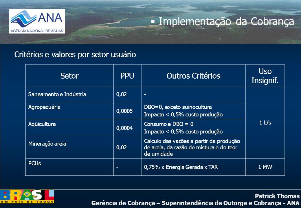 Patrick Thomas Gerência de Cobrança – Superintendência de Outorga e Cobrança - ANA  Implementação da Cobrança Critérios e valores por setor usuário S