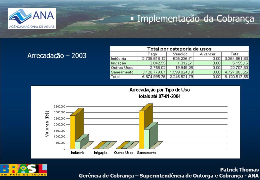 Patrick Thomas Gerência de Cobrança – Superintendência de Outorga e Cobrança - ANA Arrecadação – 2003  Implementação da Cobrança