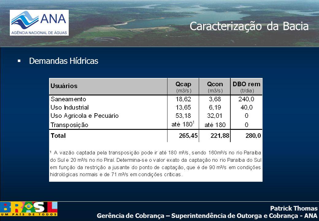 Patrick Thomas Gerência de Cobrança – Superintendência de Outorga e Cobrança - ANA Caracterização da Bacia  Demandas Hídricas