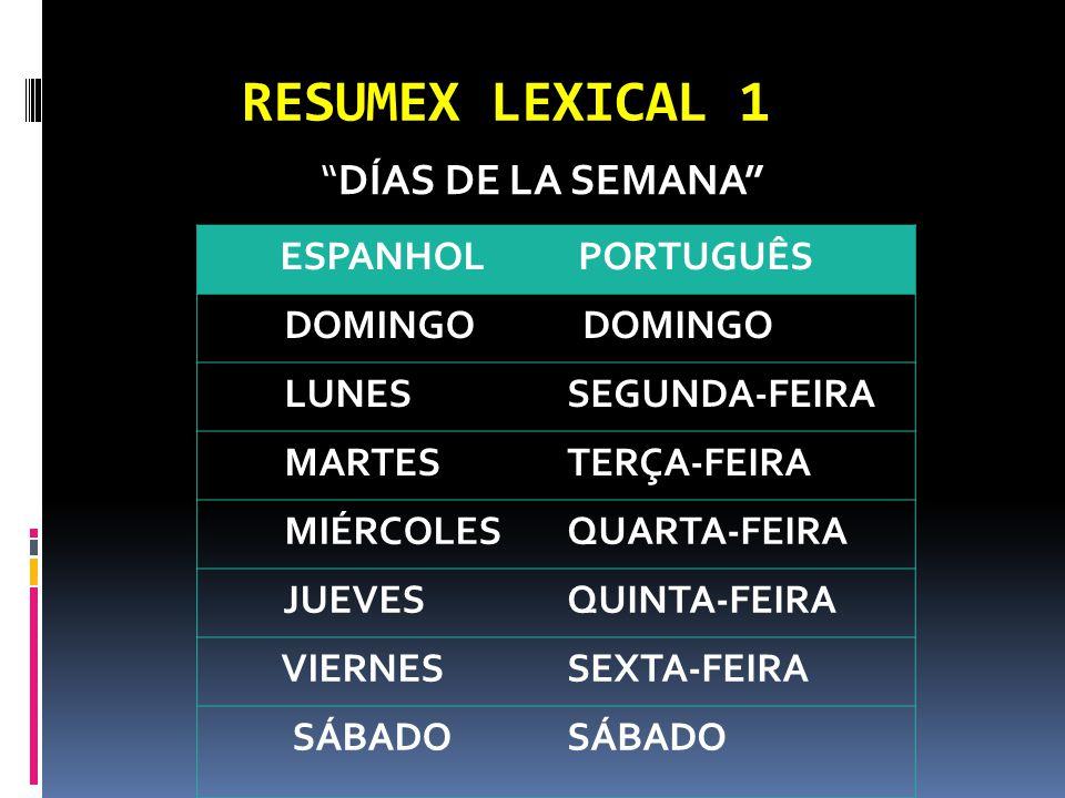 RESUMEX LEXICAL 1 DÍAS DE LA SEMANA ESPANHOL PORTUGUÊS DOMINGO LUNESSEGUNDA-FEIRA MARTESTERÇA-FEIRA MIÉRCOLESQUARTA-FEIRA JUEVESQUINTA-FEIRA VIERNESSEXTA-FEIRA SÁBADO