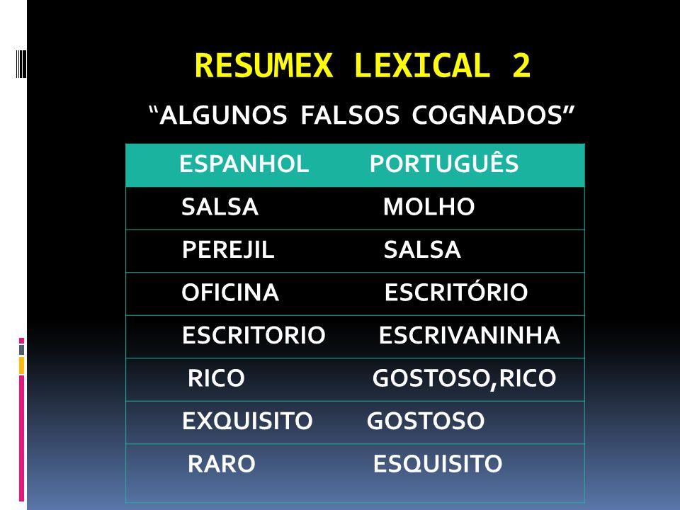 RESUMEX LEXICAL 2 ALGUNOS FALSOS COGNADOS ESPANHOL PORTUGUÊS SALSA MOLHO PEREJIL SALSA OFICINA ESCRITÓRIO ESCRITORIO ESCRIVANINHA RICO GOSTOSO,RICO EXQUISITO GOSTOSO RARO ESQUISITO