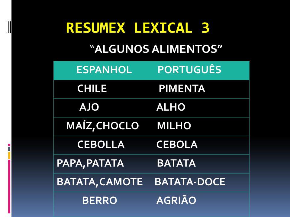 RESUMEX LEXICAL 3 ALGUNOS ALIMENTOS ESPANHOL PORTUGUÊS CHILE PIMENTA AJO ALHO MAÍZ,CHOCLO MILHO CEBOLLA CEBOLA PAPA,PATATA BATATA BATATA,CAMOTEBATATA-DOCE BERRO AGRIÃO