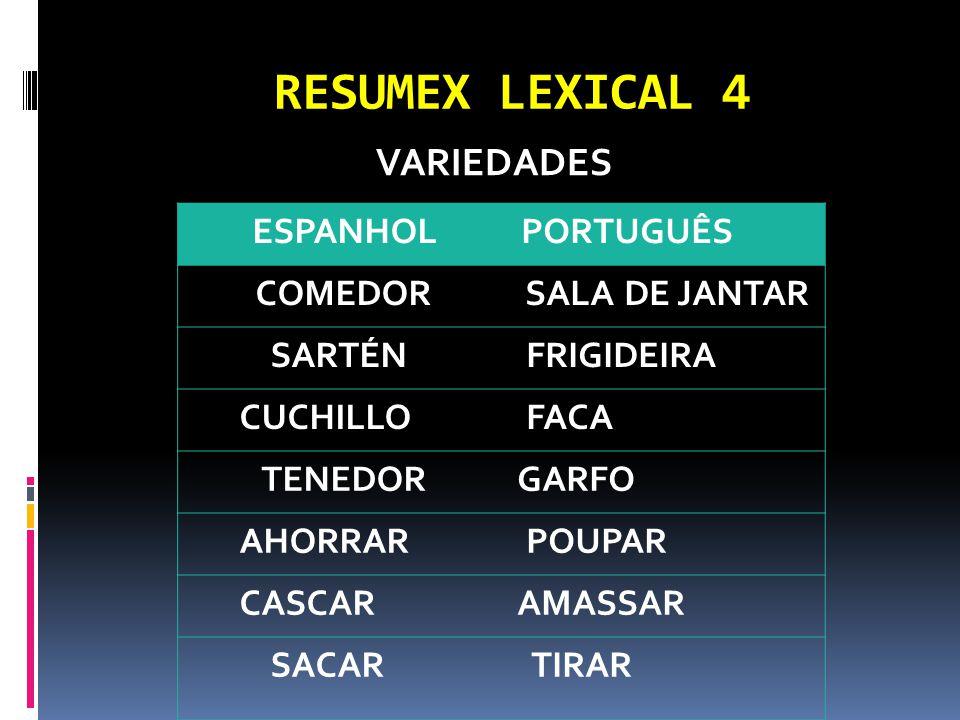 RESUMEX LEXICAL 4 VARIEDADES ESPANHOL PORTUGUÊS COMEDOR SALA DE JANTAR SARTÉN FRIGIDEIRA CUCHILLO FACA TENEDOR GARFO AHORRAR POUPAR CASCAR AMASSAR SACAR TIRAR