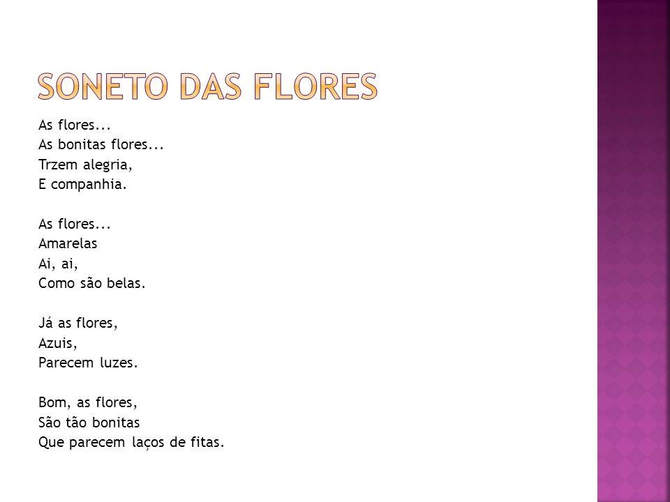As flores...As bonitas flores... Trzem alegria, E companhia.