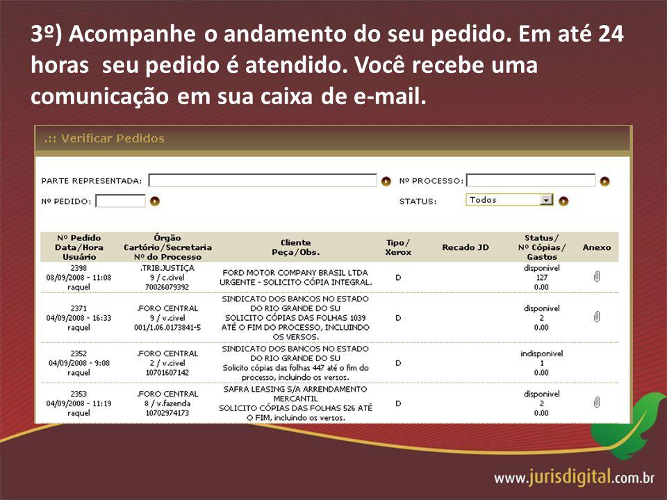 3º) Acompanhe o andamento do seu pedido. Em até 24 horas seu pedido é atendido. Você recebe uma comunicação em sua caixa de e-mail.