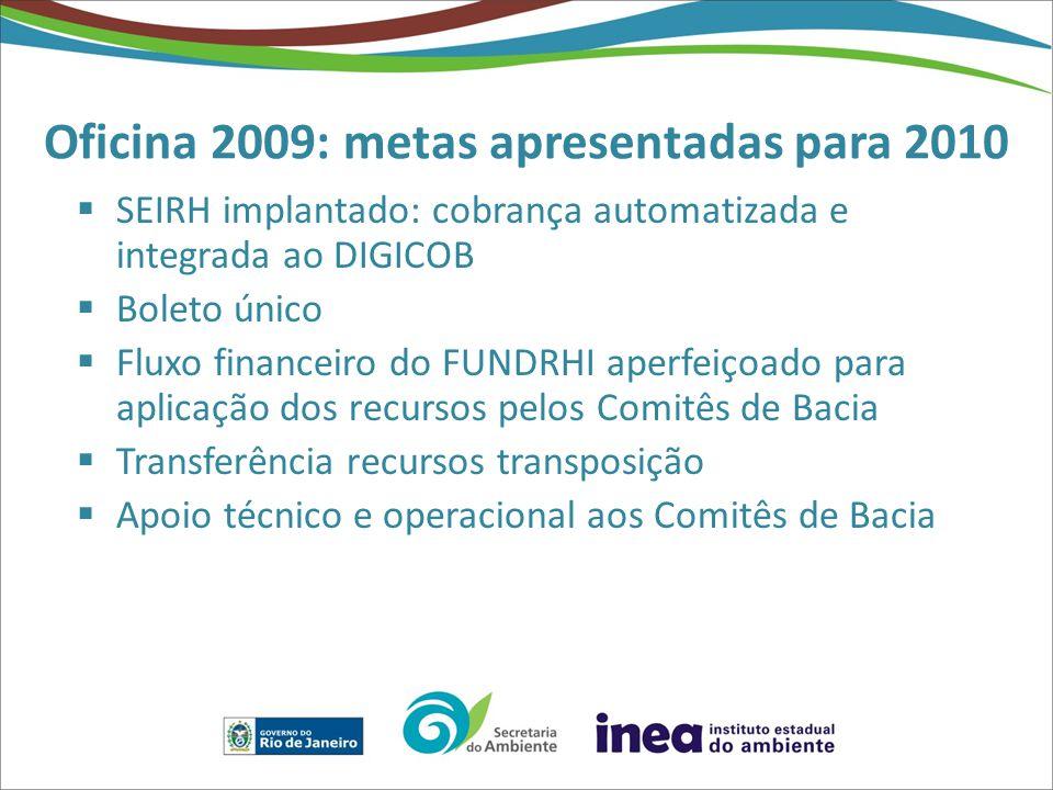 Oficina 2009: metas apresentadas para 2010  SEIRH implantado: cobrança automatizada e integrada ao DIGICOB  Boleto único  Fluxo financeiro do FUNDRHI aperfeiçoado para aplicação dos recursos pelos Comitês de Bacia  Transferência recursos transposição  Apoio técnico e operacional aos Comitês de Bacia