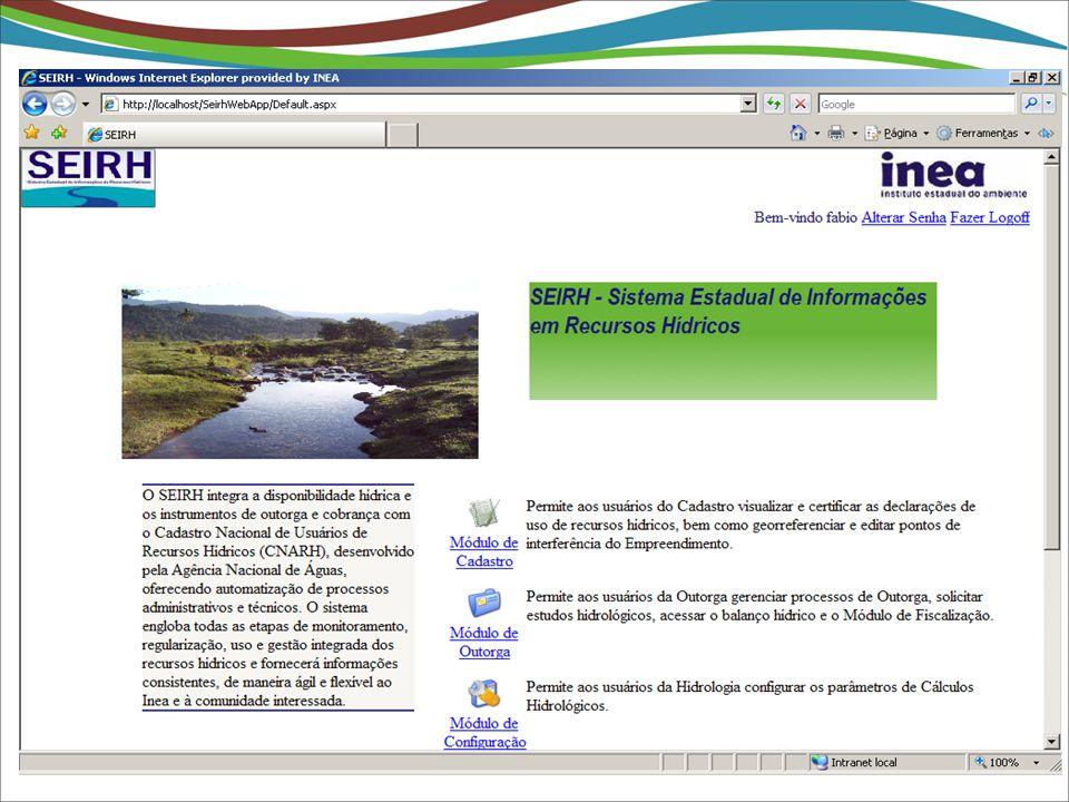 O Sistema Estadual de Informações de Recursos Hídricos - SEIRH Módulo de Hidrologia Integração ANA Interface Bancária Integração ANA Descentralização Desorganização Despadronização