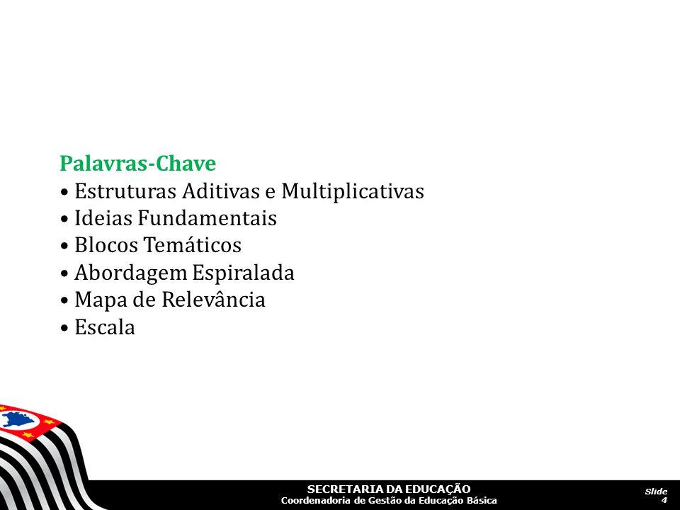 SECRETARIA DA EDUCAÇÃO Coordenadoria de Gestão da Educação Básica Slide 4 Palavras-Chave Estruturas Aditivas e Multiplicativas Ideias Fundamentais Blo