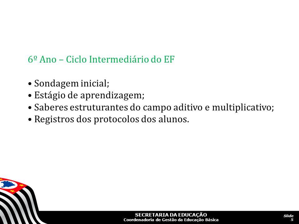 SECRETARIA DA EDUCAÇÃO Coordenadoria de Gestão da Educação Básica Slide 5 6º Ano – Ciclo Intermediário do EF Sondagem inicial; Estágio de aprendizagem