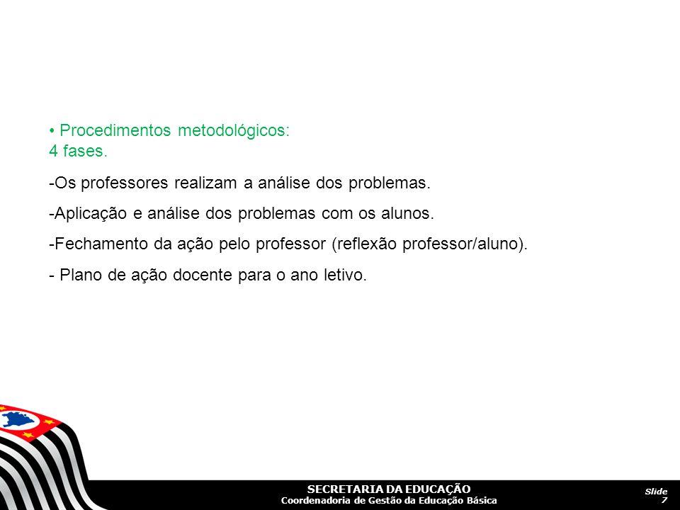 SECRETARIA DA EDUCAÇÃO Coordenadoria de Gestão da Educação Básica Slide 7 Procedimentos metodológicos: 4 fases. -Os professores realizam a análise dos