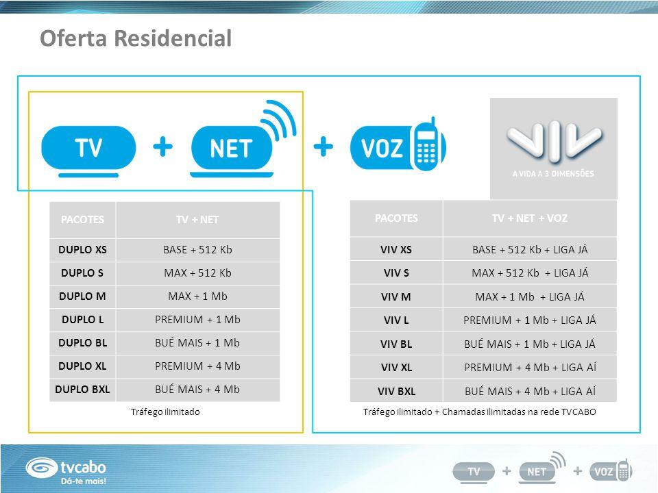 Oferta Residencial PACOTESTV + NET DUPLO XSBASE + 512 Kb DUPLO SMAX + 512 Kb DUPLO MMAX + 1 Mb DUPLO LPREMIUM + 1 Mb DUPLO BLBUÉ MAIS + 1 Mb DUPLO XLPREMIUM + 4 Mb DUPLO BXLBUÉ MAIS + 4 Mb PACOTESTV + NET + VOZ VIV XSBASE + 512 Kb + LIGA JÁ VIV SMAX + 512 Kb + LIGA JÁ VIV MMAX + 1 Mb + LIGA JÁ VIV LPREMIUM + 1 Mb + LIGA JÁ VIV BLBUÉ MAIS + 1 Mb + LIGA JÁ VIV XLPREMIUM + 4 Mb + LIGA AÍ VIV BXLBUÉ MAIS + 4 Mb + LIGA AÍ Tráfego ilimitado + Chamadas ilimitadas na rede TVCABOTráfego ilimitado