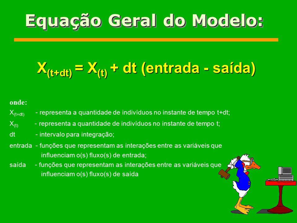 Equação Geral do Modelo: X (t+dt) = X (t) + dt (entrada - saída) onde: X (t+dt) - representa a quantidade de indivíduos no instante de tempo t+dt; X (