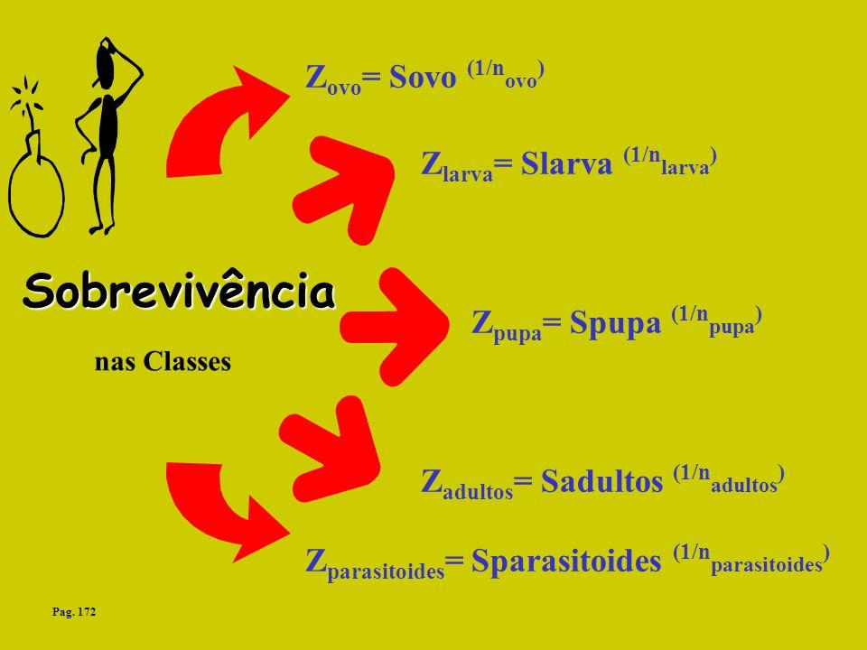 Sobrevivência nas Classes Z ovo = Sovo (1/n ovo ) Z larva = Slarva (1/n larva ) Z pupa = Spupa (1/n pupa ) Z adultos = Sadultos (1/n adultos ) Z paras