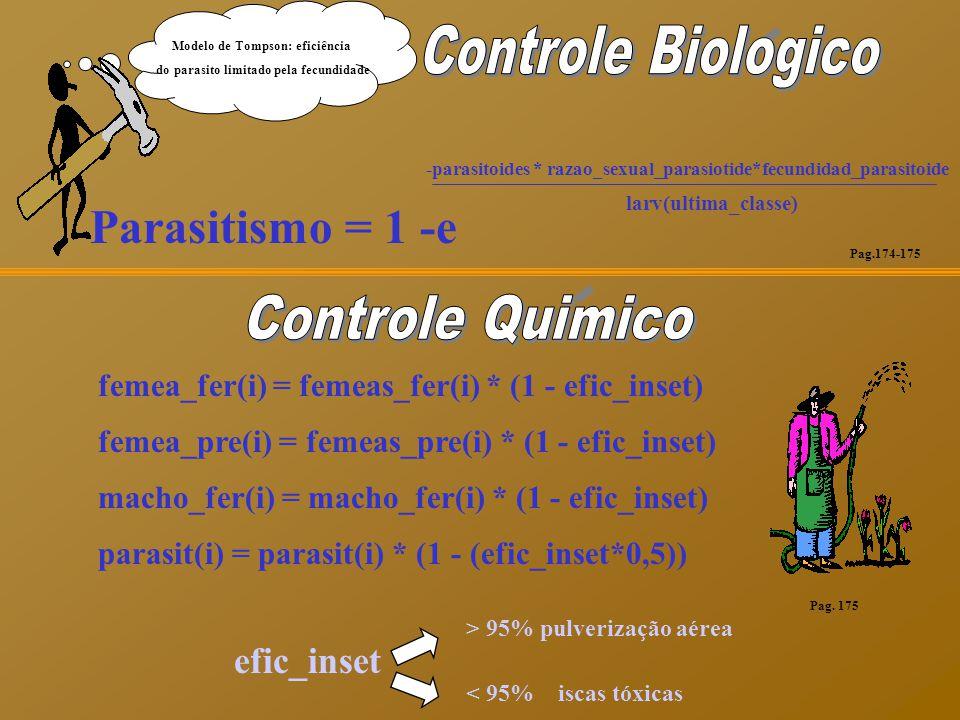 Parasitismo = 1 -e -parasitoides * razao_sexual_parasiotide*fecundidad_parasitoide larv(ultima_classe) efic_inset > 95% pulverização aérea < 95% iscas