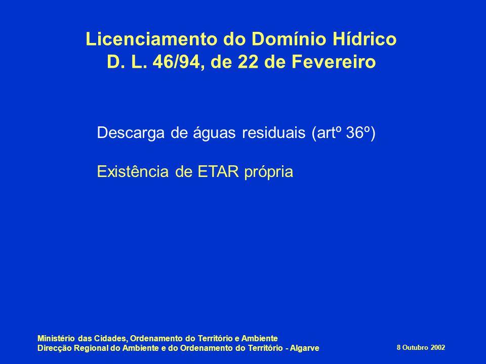 8 Outubro 2002 Ministério das Cidades, Ordenamento do Território e Ambiente Direcção Regional do Ambiente e do Ordenamento do Território - Algarve Lic
