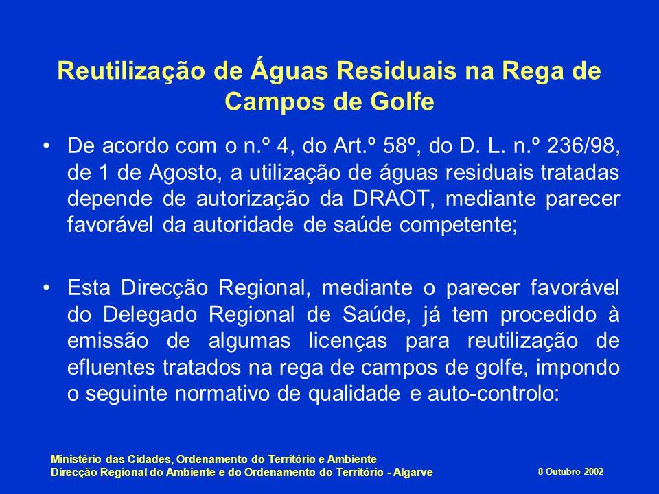 8 Outubro 2002 Ministério das Cidades, Ordenamento do Território e Ambiente Direcção Regional do Ambiente e do Ordenamento do Território - Algarve Reu