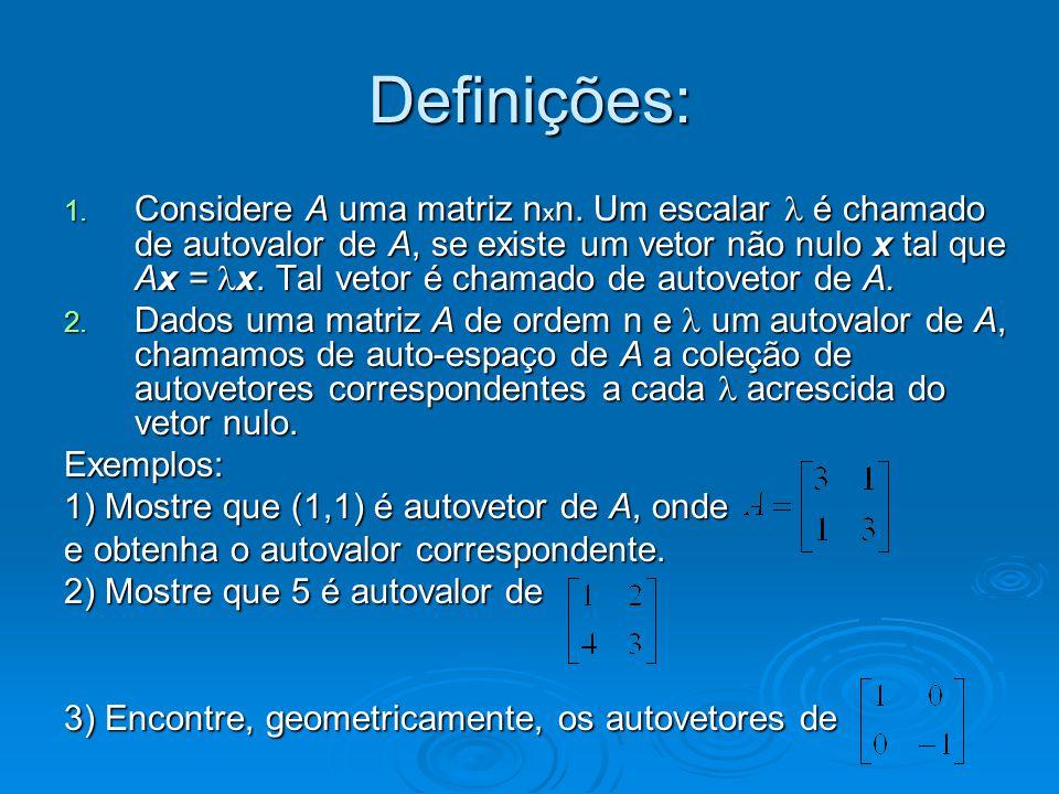Polinômio característico Agora que já vimos algumas aplicações dos determinantes, vamos utilizá-lo para mais uma aplicação.