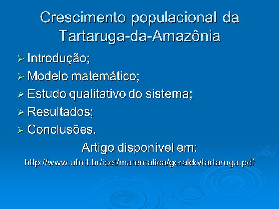 Introdução  Pesquisa e aplicação dos conhecimentos matemáticos às diversas áreas do conhecimento;  O projeto Quelônios da Amazônia ;  Objetivos deste trabalho;  Metodologia de estudo.