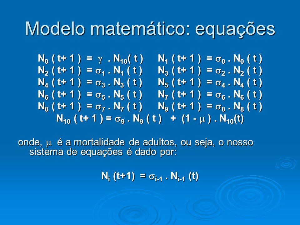 Modelo matemático: forma matricial N ( t+1) = A N (t) N = [N 0, N 1,..., N 10 ] => N (t) = A t N (0)