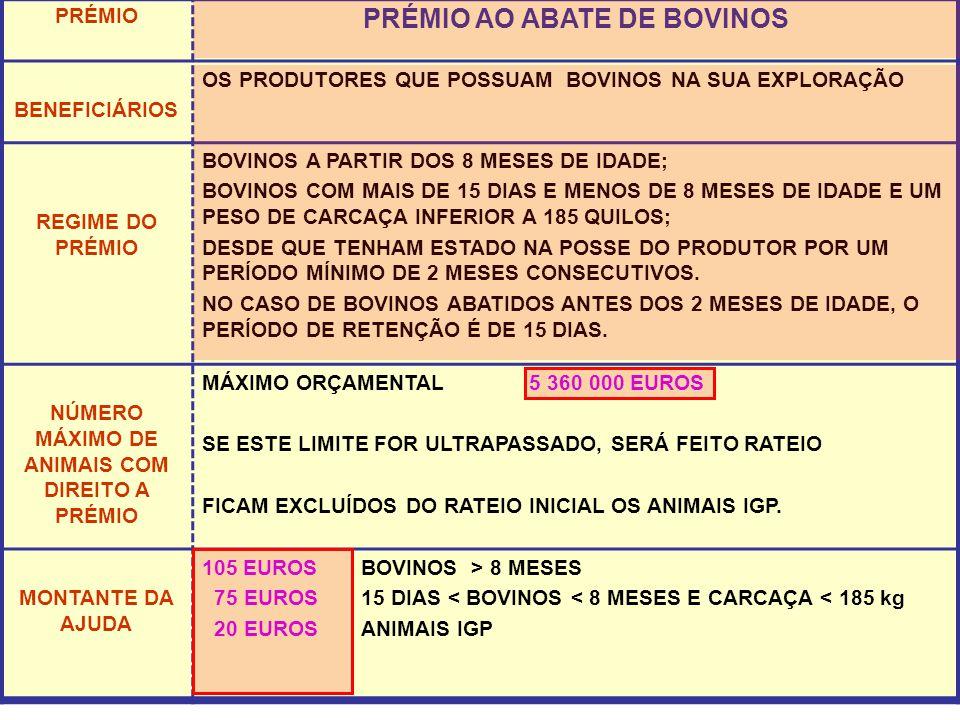 PRÉMIO PRÉMIO AO ABATE DE BOVINOS BENEFICIÁRIOS OS PRODUTORES QUE POSSUAM BOVINOS NA SUA EXPLORAÇÃO REGIME DO PRÉMIO BOVINOS A PARTIR DOS 8 MESES DE IDADE; BOVINOS COM MAIS DE 15 DIAS E MENOS DE 8 MESES DE IDADE E UM PESO DE CARCAÇA INFERIOR A 185 QUILOS; DESDE QUE TENHAM ESTADO NA POSSE DO PRODUTOR POR UM PERÍODO MÍNIMO DE 2 MESES CONSECUTIVOS.