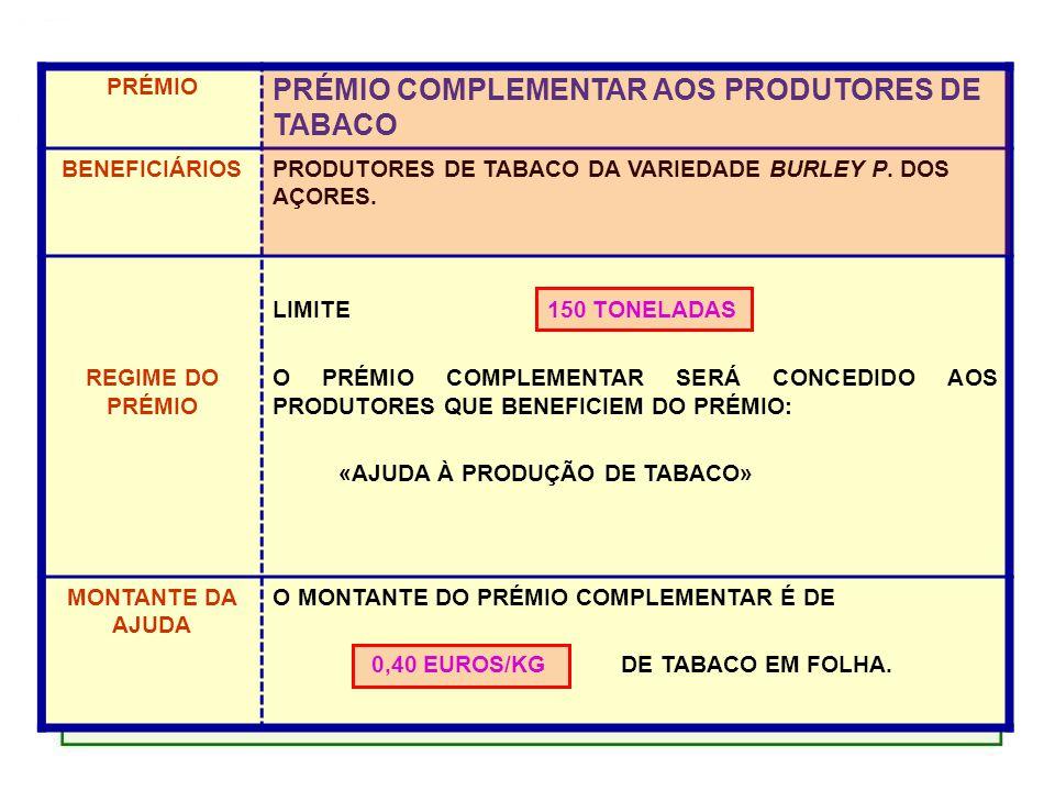 PRÉMIO PRÉMIO COMPLEMENTAR AOS PRODUTORES DE TABACO BENEFICIÁRIOSPRODUTORES DE TABACO DA VARIEDADE BURLEY P.