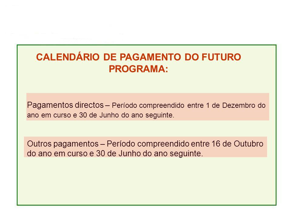 CALENDÁRIO DE PAGAMENTO DO FUTURO PROGRAMA: Pagamentos directos – Período compreendido entre 1 de Dezembro do ano em curso e 30 de Junho do ano seguinte.