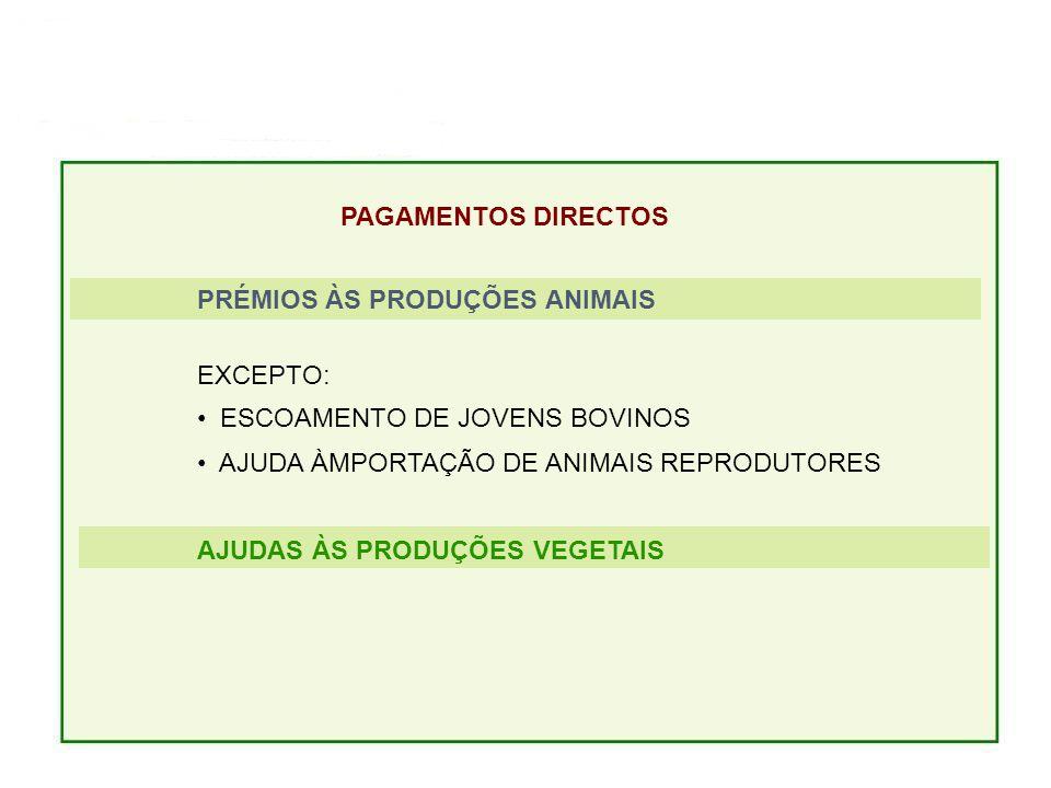 PAGAMENTOS DIRECTOS PRÉMIOS ÀS PRODUÇÕES ANIMAIS EXCEPTO: ESCOAMENTO DE JOVENS BOVINOS AJUDA ÀMPORTAÇÃO DE ANIMAIS REPRODUTORES AJUDAS ÀS PRODUÇÕES VEGETAIS