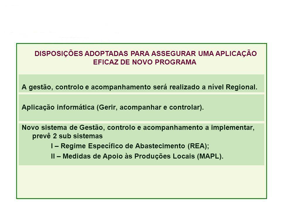 A gestão, controlo e acompanhamento será realizado a nível Regional.