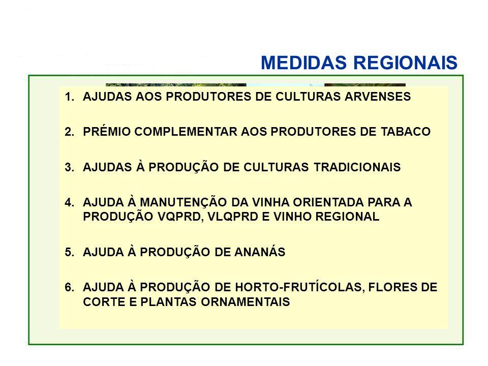 MEDIDAS REGIONAIS AJUDAS ÀS PRODUÇÕES VEGETAIS 1.AJUDAS AOS PRODUTORES DE CULTURAS ARVENSES 2.PRÉMIO COMPLEMENTAR AOS PRODUTORES DE TABACO 3.AJUDAS À PRODUÇÃO DE CULTURAS TRADICIONAIS 4.AJUDA À MANUTENÇÃO DA VINHA ORIENTADA PARA A PRODUÇÃO VQPRD, VLQPRD E VINHO REGIONAL 5.AJUDA À PRODUÇÃO DE ANANÁS 6.AJUDA À PRODUÇÃO DE HORTO-FRUTÍCOLAS, FLORES DE CORTE E PLANTAS ORNAMENTAIS