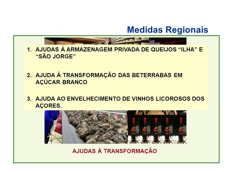 Medidas Regionais AJUDAS À TRANSFORMAÇÃO 1.AJUDAS À ARMAZENAGEM PRIVADA DE QUEIJOS ILHA E SÃO JORGE 2.AJUDA À TRANSFORMAÇÃO DAS BETERRABAS EM AÇÚCAR BRANCO 3.AJUDA AO ENVELHECIMENTO DE VINHOS LICOROSOS DOS AÇORES.