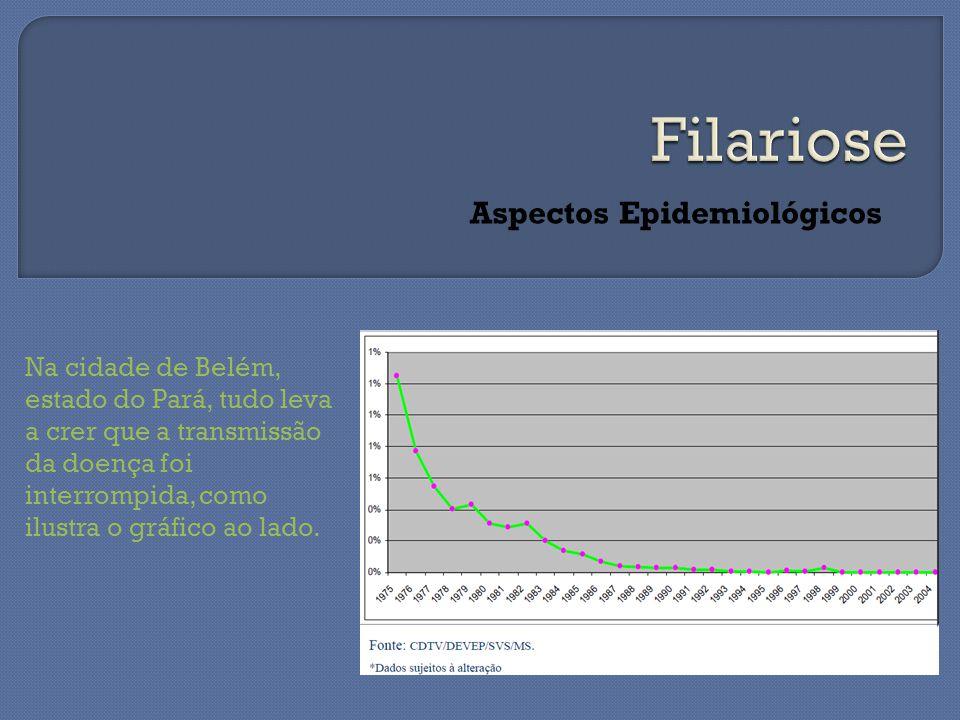 Aspectos Epidemiológicos Na cidade de Belém, estado do Pará, tudo leva a crer que a transmissão da doença foi interrompida, como ilustra o gráfico ao