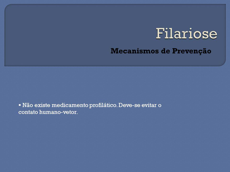 Mecanismos de Prevenção  Não existe medicamento profilático.