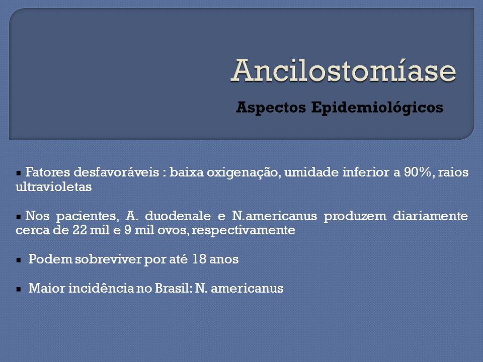 Aspectos Epidemiológicos Fatores desfavoráveis : baixa oxigenação, umidade inferior a 90%, raios ultravioletas Nos pacientes, A.