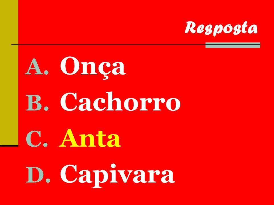 A. Onça B. Cachorro C. Anta D. Capivara Resposta