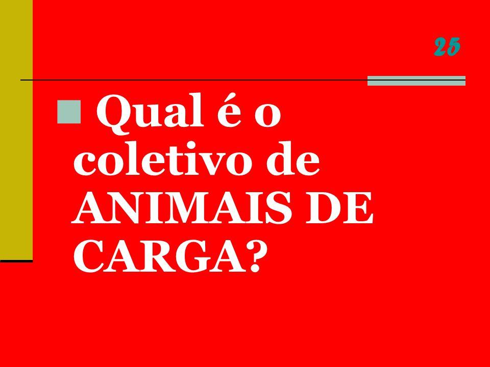25 Qual é o coletivo de ANIMAIS DE CARGA