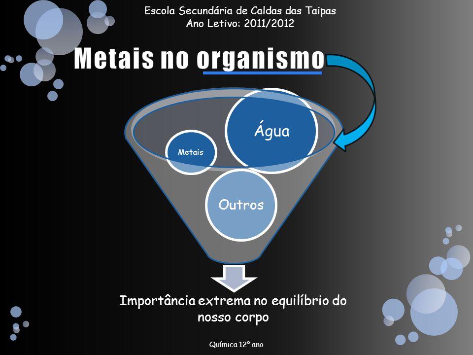 Química 12º ano Importância extrema no equilíbrio do nosso corpo Outros Metais Água Escola Secundária de Caldas das Taipas Ano Letivo: 2011/2012