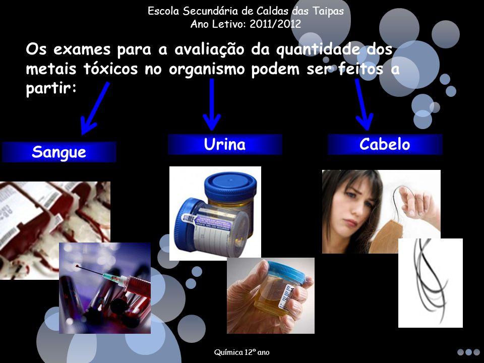 Os exames para a avaliação da quantidade dos metais tóxicos no organismo podem ser feitos a partir: Sangue UrinaCabelo Química 12º ano Escola Secundár
