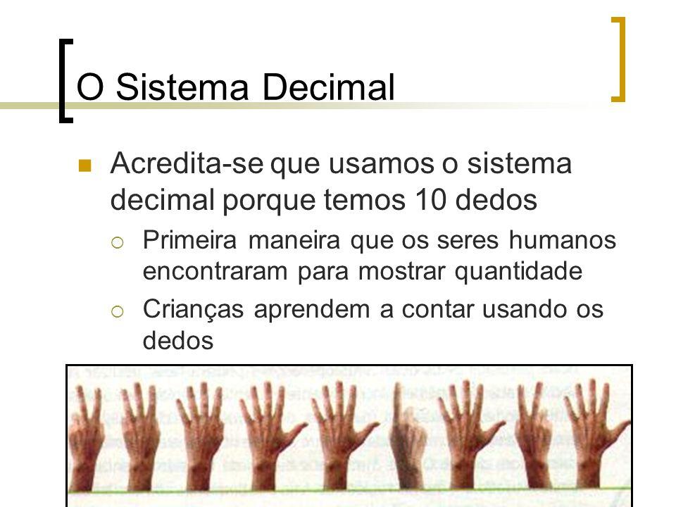 O Sistema Decimal Acredita-se que usamos o sistema decimal porque temos 10 dedos  Primeira maneira que os seres humanos encontraram para mostrar quantidade  Crianças aprendem a contar usando os dedos
