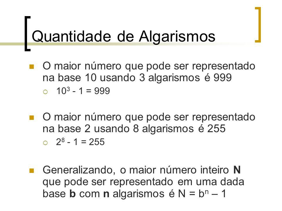 Quantidade de Algarismos O maior número que pode ser representado na base 10 usando 3 algarismos é 999  10 3 - 1 = 999 O maior número que pode ser representado na base 2 usando 8 algarismos é 255  2 8 - 1 = 255 Generalizando, o maior número inteiro N que pode ser representado em uma dada base b com n algarismos é N = b n – 1