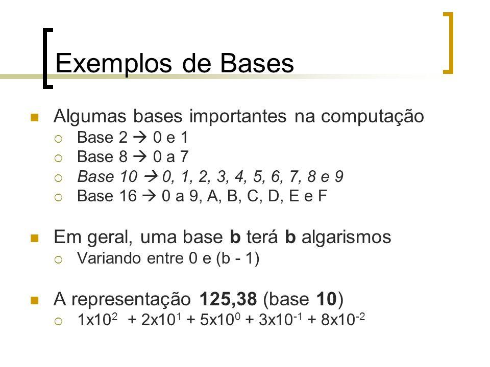 Exemplos de Bases Algumas bases importantes na computação  Base 2  0 e 1  Base 8  0 a 7  Base 10  0, 1, 2, 3, 4, 5, 6, 7, 8 e 9  Base 16  0 a 9, A, B, C, D, E e F Em geral, uma base b terá b algarismos  Variando entre 0 e (b - 1) A representação 125,38 (base 10)  1x10 2 + 2x10 1 + 5x10 0 + 3x10 -1 + 8x10 -2