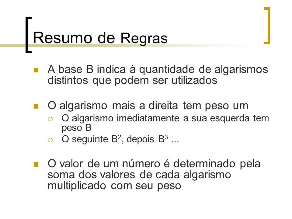 Resumo de Regras A base B indica à quantidade de algarismos distintos que podem ser utilizados O algarismo mais a direita tem peso um  O algarismo imediatamente a sua esquerda tem peso B  O seguinte B 2, depois B 3...