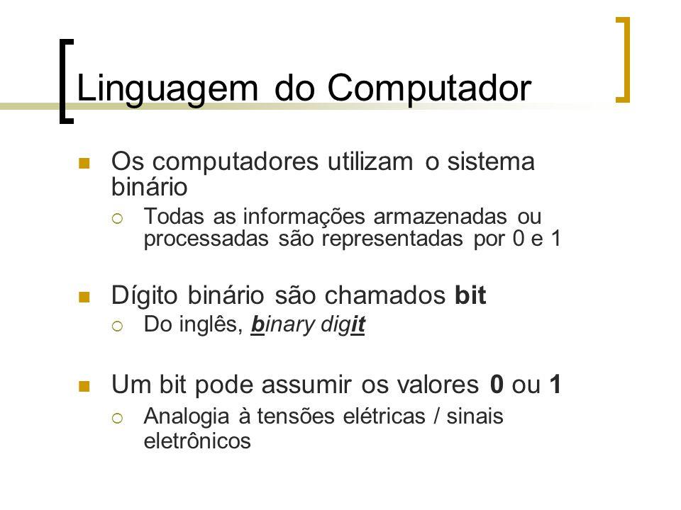 Linguagem do Computador Os computadores utilizam o sistema binário  Todas as informações armazenadas ou processadas são representadas por 0 e 1 Dígito binário são chamados bit  Do inglês, binary digit Um bit pode assumir os valores 0 ou 1  Analogia à tensões elétricas / sinais eletrônicos