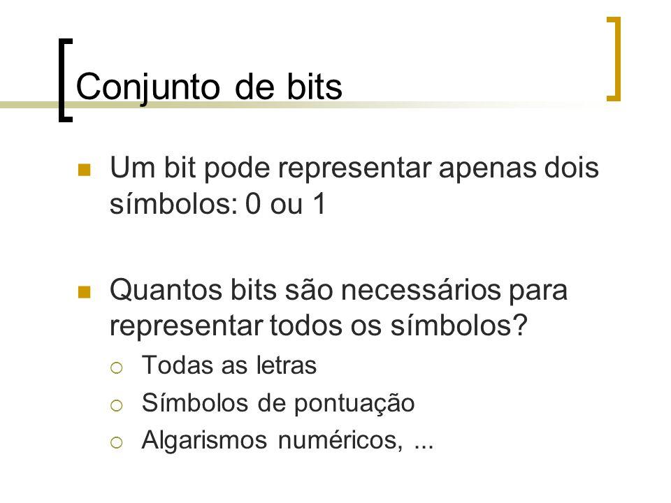 Conjunto de bits Um bit pode representar apenas dois símbolos: 0 ou 1 Quantos bits são necessários para representar todos os símbolos.