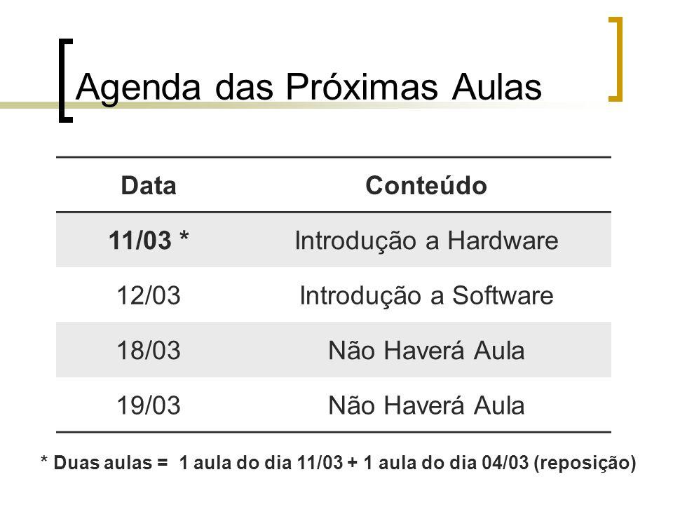Agenda das Próximas Aulas DataConteúdo 11/03 *Introdução a Hardware 12/03Introdução a Software 18/03Não Haverá Aula 19/03Não Haverá Aula * Duas aulas = 1 aula do dia 11/03 + 1 aula do dia 04/03 (reposição)